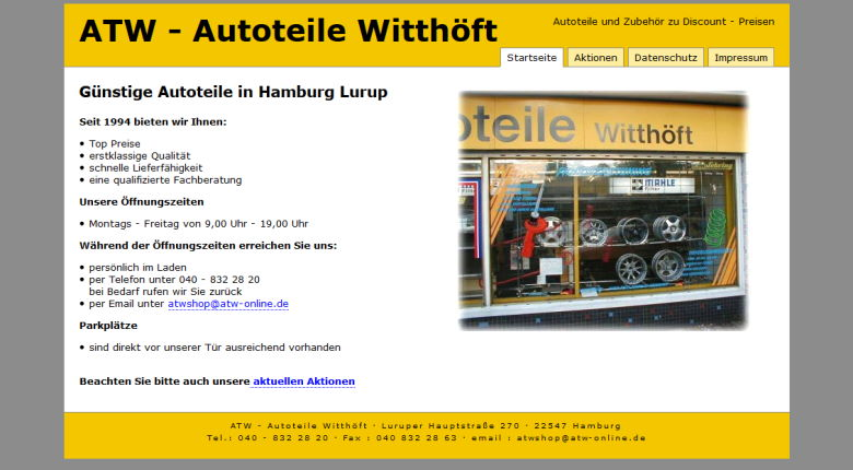 Screenshot alte Website